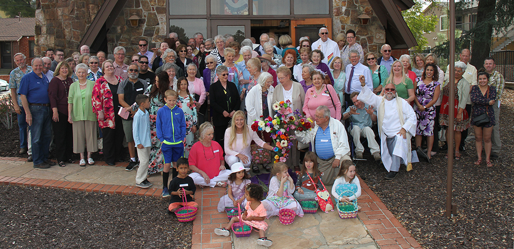 forty to fifty of our congregation standing outside in front of the sanctuary